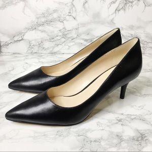 Nine West Black Pointy Toe Kitten Heel